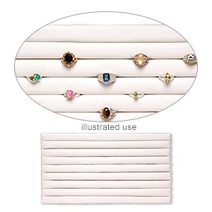 display insert, ring, leatherette, white, 14-1/2 x 7-1/2 x 3/4 inches with 8 rows. sold individually.