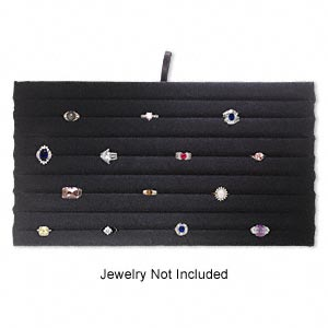 display insert, ring, velvet, black, 14 x 7-3/4 x 3/4 inches with 8 slotted rows. sold individually.