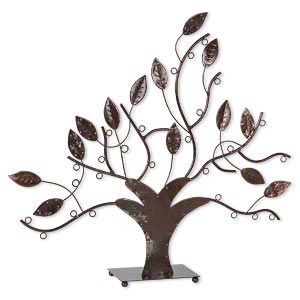 display, necklace / bracelet / earring, steel, powder-coated bronze, 19 x 19 x 4-inch leafy tree with 26 display loops. sold individually.