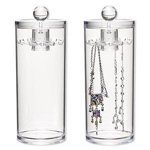 display, necklace, acrylic, clear, 10 x 3-5/8 inch cylinder with spinner top lid. sold individually.