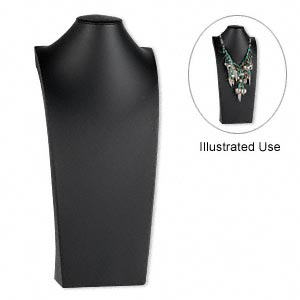 display, necklace, leatherette, black, 21 x 9-1/2 x 5 inches. sold individually.