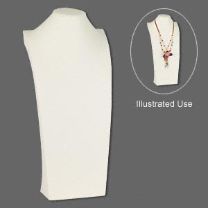 display, necklace, leatherette, cream, 9-1/2 x 21 x 5 inches. sold individually.