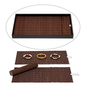 display pad, bamboo (dyed), brown, 14 x 7-3/4 inch roll-up rectangle. sold per pkg of 4.
