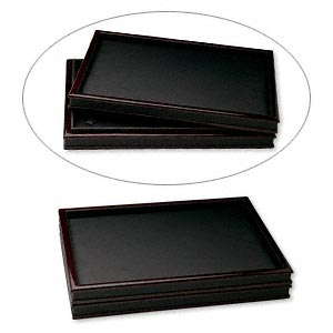 display tray cover, leatherette and fiber board, black and mahogany, 12-1/2 x 9 x 1 inches. sold individually.