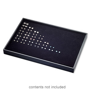 display tray, earring, leatherette and velveteen, black, 13-3/4 x 1-1/4 x 9-1/2 inches with insert. sold individually.