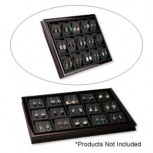 display tray, fiber board and leatherette, black and mahogany, 12-1/2 x 9 x 1 inches with (15) earring inserts. sold individually.