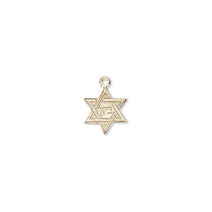 drop, 14kt gold-filled, 10x9mm star of david. sold individually.