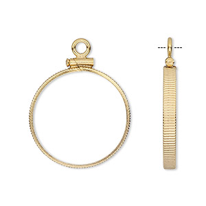 drop, 14kt gold-filled, 22mm open round with 21mm screw-fastened flat round bezel setting. sold individually.