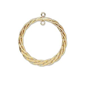 drop, 14kt gold-filled, 25mm braided flat round with loop. sold per pkg of 2.