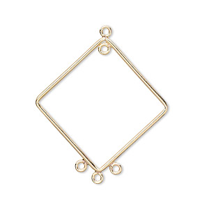 drop, 14kt gold-filled, 28x27mm diamond, 4 loops. sold per pkg of 2.