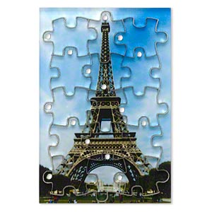 drop, acrylic, multicolored, 3x2 inch puzzle with eiffel tower image and 20x15mm individual pieces. sold per 15-piece set.