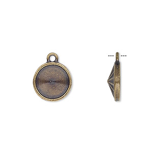 drop, almost instant jewelry and tierracast, antique brass-plated pewter (tin-based alloy), 16.5mm round with 14mm rivoli setting. sold individually.