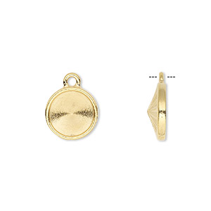 drop, almost instant jewelry and tierracast, gold-plated pewter (tin-based alloy), 15mm round with 12mm rivoli setting. sold individually.
