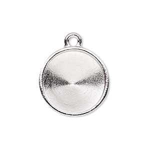 drop, almost instant jewelry and tierracast, rhodium-plated pewter (tin-based alloy), 21mm round with 18mm rivoli setting. sold individually.