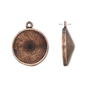 drop, almost instant jewelry, antique copper-plated pewter (tin-based alloy), 21mm round with 18mm rivoli setting. sold individually.