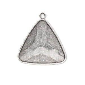 drop, almost instant jewelry, antique silver-plated brass, 27x27x27mm triangle with 23x23x23mm triangle setting. sold per pkg of 2.