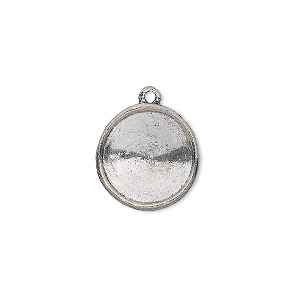 drop, almost instant jewelry, antiqued pewter (tin-based alloy), 17mm round with 14mm rivoli setting. sold individually.