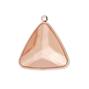 drop, almost instant jewelry, copper-plated brass, 27x27x27mm faceted triangle with 23x23x23mm triangle setting. sold per pkg of 2.
