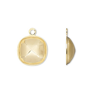 drop, almost instant jewelry, gold-plated brass, 14mm rounded square with 12mm cushion setting. sold per pkg of 4.
