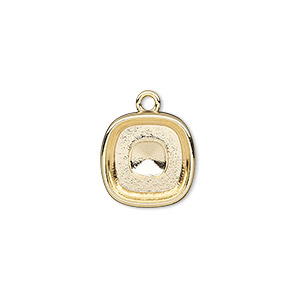 drop, almost instant jewelry, gold-plated pewter (zinc-based alloy), 14mm square with 12mm square setting. sold per pkg of 2.
