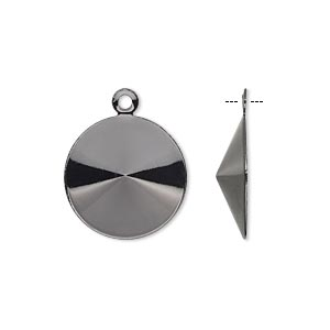 drop, almost instant jewelry, gunmetal-finished brass, 17mm round with 16mm rivoli setting. sold per pkg of 10.