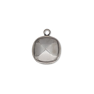 drop, almost instant jewelry, gunmetal-plated brass, 14mm rounded square with 12mm cushion setting. sold per pkg of 4.