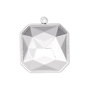drop, almost instant jewelry, silver-plated brass, 25x25mm square with 23x23mm square setting. sold per pkg of 2.