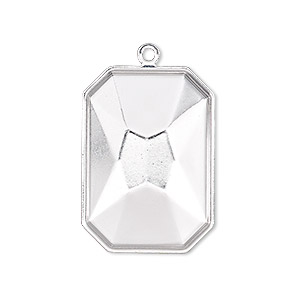 drop, almost instant jewelry, silver-plated brass, 29x21mm rectangle with 27x18.5mm emerald-cut setting. sold per pkg of 2.
