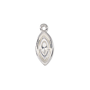 drop, almost instant jewelry, silver-plated pewter (zinc-based alloy), 17x9mm marquise with 15x7mm navette setting. sold per pkg of 2.