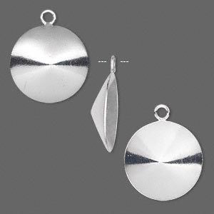 drop, almost instant jewelry, sterling silver, 16mm round with 16mm rivoli setting. sold per pkg of 2.