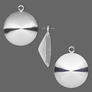 drop, almost instant jewelry, sterling silver, 18mm round with 18mm rivoli setting. sold per pkg of 2.
