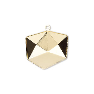 drop, almost instant jewelry, swarovski crystals, gold-plated brass, 20.5x19.5mm with 19mm tilted dice setting (4933/c). sold per pkg of 15.