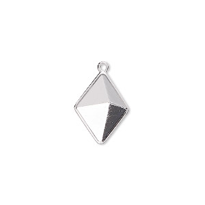 drop, almost instant jewelry, swarovski crystals, rhodium-plated brass, 16x12mm with 14x10.5mm tilted spike setting (4929/c). sold per pkg of 48.