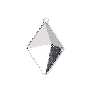 drop, almost instant jewelry, swarovski crystals, rhodium-plated brass, 25.5x18mm with 24x17mm tilted spike setting (4928/c). sold per pkg of 15.