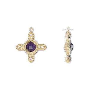 drop, amethyst (natural) / cubic zirconia / gold-finished sterling silver, clear, 15mm double-sided cross. sold individually.