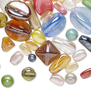 drop and bead mix, vintage german pressed glass, mixed colors, 3mm-16x12mm mixed shape. sold per 2-ounce pkg, approximately 140 pieces.
