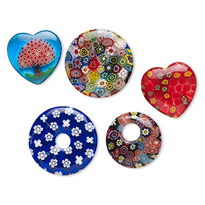 drop and focal mix, millefiori glass, multicolored, 19x19mm-30x20mm mixed shapes. sold per pkg of 5.