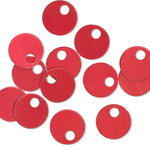 drop, anodized aluminum, red, 9mm double-sided flat round blank with 2mm hole, 20 gauge. sold per pkg of 20.