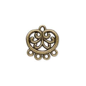 drop, antique brass-plated pewter (zinc-based alloy), 16x13mm filigree circle, 4 loops. sold per pkg of 20.