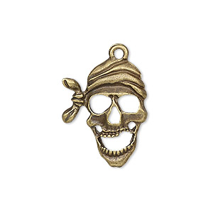 drop, antique brass-plated pewter (zinc-based alloy), 24x19mm single-sided pirate skull. sold individually.