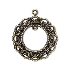drop, antique brass-plated pewter (zinc-based alloy), 28mm wreath with loop. sold per pkg of 10.