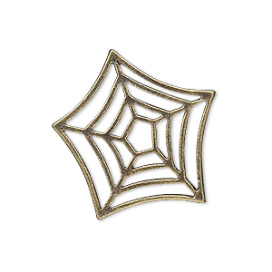 drop, antique brass-plated pewter (zinc-based alloy), 29x26mm spider web. sold per pkg of 10.