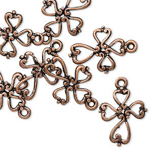 drop, antique copper-finished pewter (zinc-based alloy), 16.5x14.5mm double-sided cross. sold per pkg of 10.