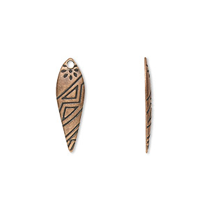 drop, antique copper-plated steel, 21x7mm drop with etched tribal design. sold per pkg of 100.