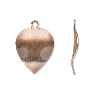 drop, antique copper-plated steel, 23x18mm wavy leaf. sold per pkg of 10.