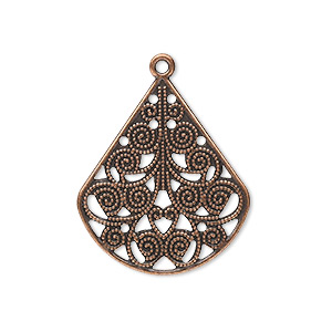 drop, antique copper-plated steel, 26x23mm filigree teardrop. sold per pkg of 10.