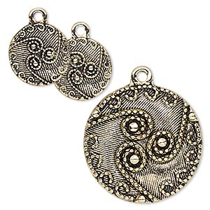 drop, antique gold-finished pewter (zinc-based alloy), 13mm and 25mm flat round with swirl and dot design. sold per 3-piece set.