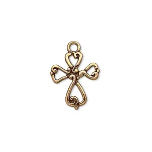 drop, antique gold-finished pewter (zinc-based alloy), 16.5x14.5mm double-sided cross. sold per pkg of 10.