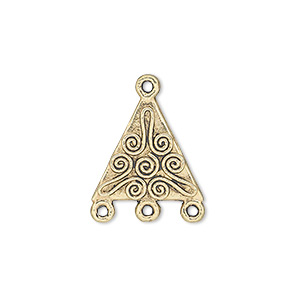 drop, antique gold-finished pewter (zinc-based alloy), 17x17x15mm double-sided triangle with spiral design and 3 loops. sold per pkg of 20.
