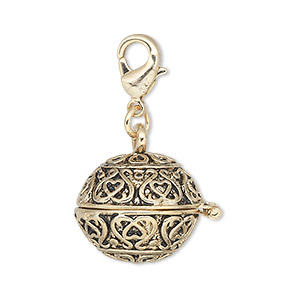 drop, antique gold-finished pewter (zinc-based alloy), 18mm round prayer box with swirl design and magnetic closure with lobster claw clasp. sold individually.